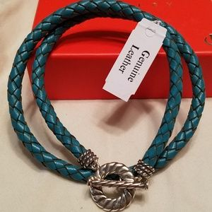 Sterling silver and braided leather necklace